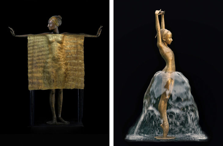 2 bronze water fountain sculptures malgorzata chodakowska